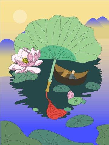summer lotus river bank leaf llustration image illustration image