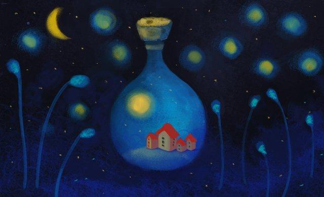 静かな夏の夜 イラスト素材 イラスト画像