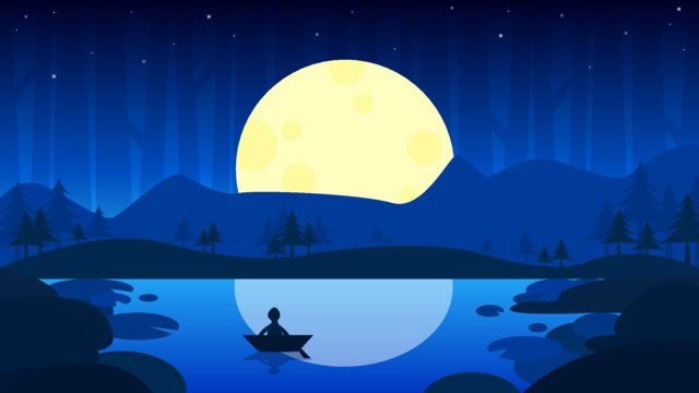 여름 밤 연꽃 연못 달빛 벡터 일러스트 레이션 삽화 소재