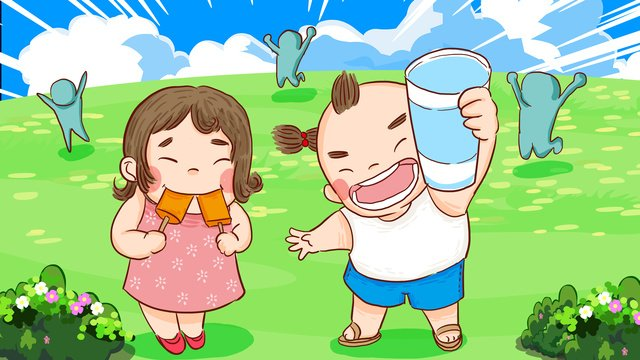 Summer party toasting on the prairie eating ice drink carnival hand drawn illustration llustration image illustration image