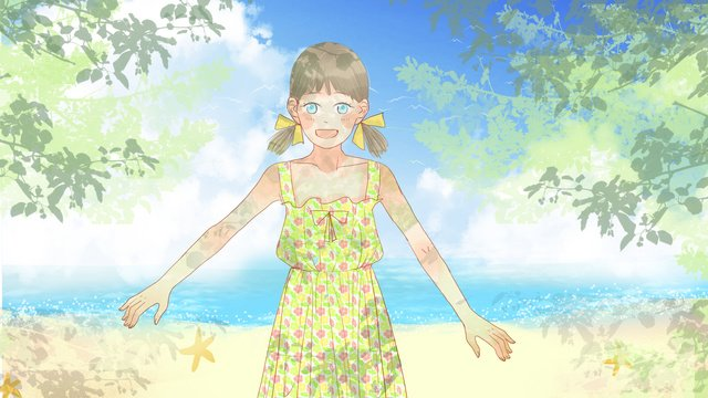 Little girl in a flower dress the summer fresh seashore llustration image illustration image