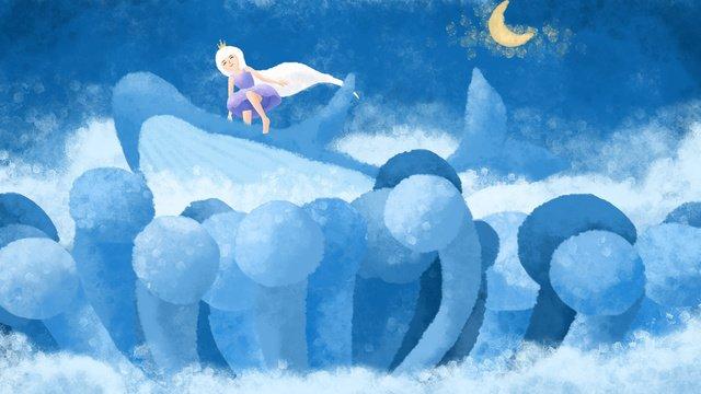 소녀와 고래 파란색 서핑의 원래 그림 삽화 소재 삽화 이미지
