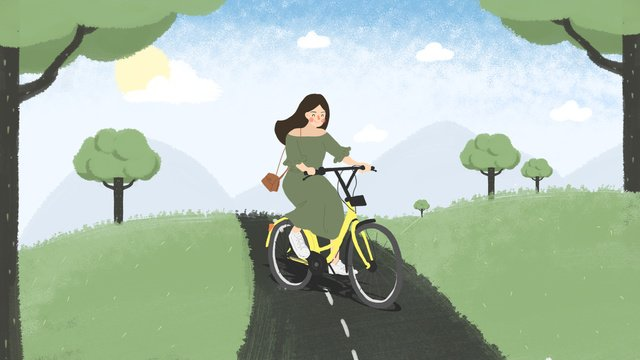 summer riding a small yellow car out to travel the original illustration llustration image illustration image