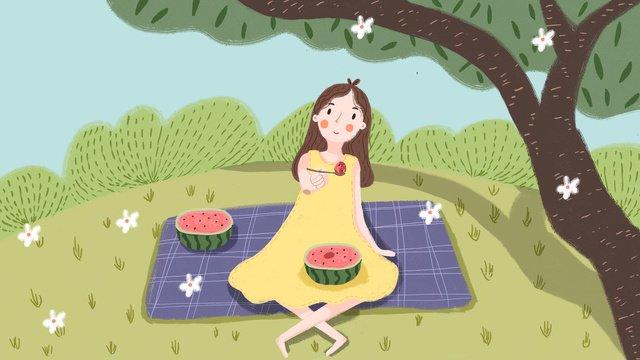 夏季女孩樹下吃西瓜 插畫素材 插畫圖片