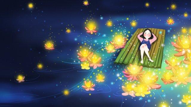 Летний 24 й фестиваль river light girl night Иллюстрация Ресурсы иллюстрации Иллюстрация изображения