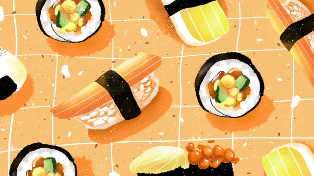 Cute sushi gourmet original illustration, Sushi, Lovely, Illustration illustration image