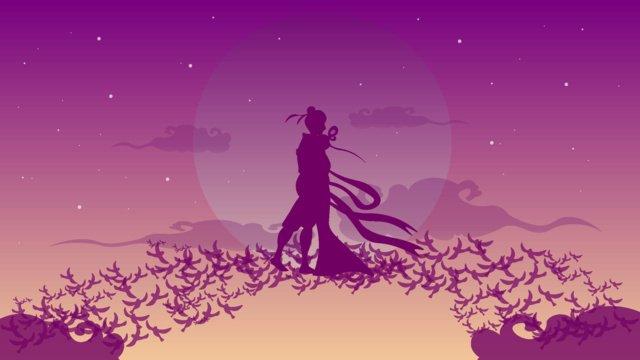 牽牛と織姫の橋が七夕の挿絵を抱き合っています イラスト素材 イラスト画像