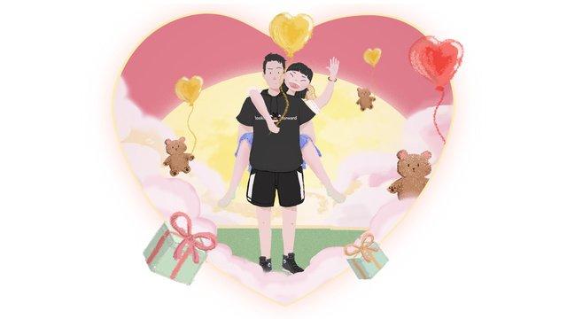 Tanabata love valentines day couple balloon, Tanabata, Love, Couple illustration image