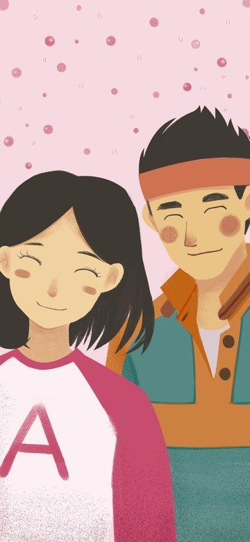 달콤한 커플 핑크 그림 그림 이미지