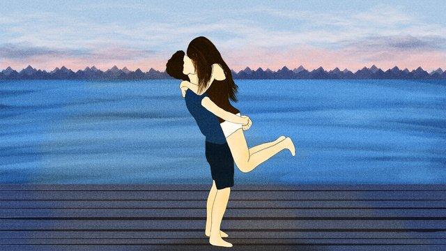 Tanabata valentines day romantic fresh blue coast kissing couple illustration llustration image