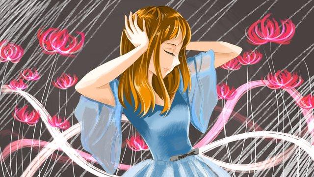 Original hand-painted illustration blue skirt dancer, Teenage Girl, Comic, Illustration illustration image