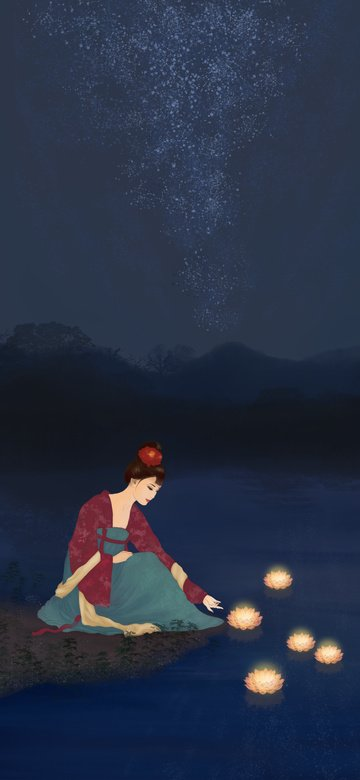 Mid-autumn festival girl riverside river lamp ancient style original hand-painted illustration, Teenage Girl, Riverside, Forest illustration image