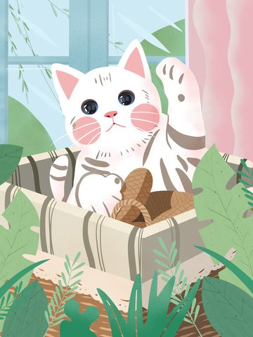 Original texture small fresh cute pet cartoon illustration, Texture Realistic, Cat, Cute Pet illustration image
