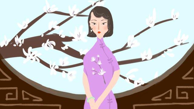 Thirteen niece cheongsam series - magnolia flower hand-painted original illustration, Thirteen, Woman, Cheongsam illustration image