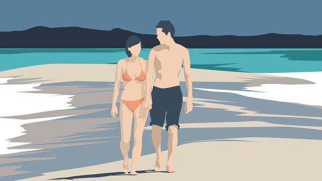 Ilustrador casal à beira mar praia turismoViagem  Praia  Mar PNG E PSD illustration image