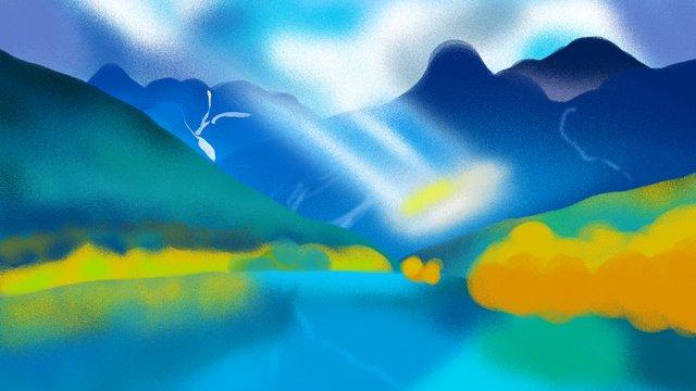 관광 도시 윈난 풍경 일러스트 레이션 삽화 소재