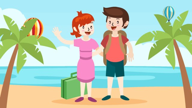 Travel cartoon character illustration, Tourism, Play, Vector illustration image