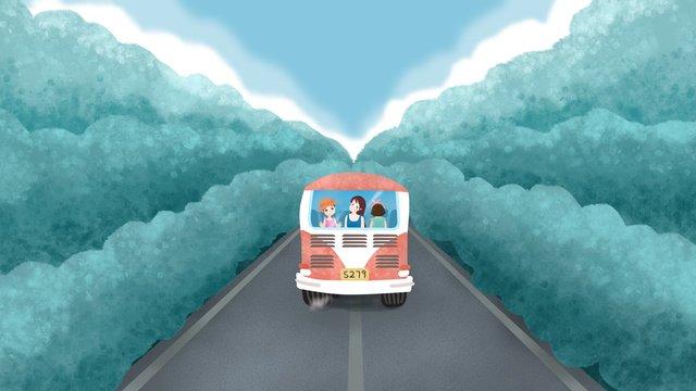 原創插畫公路上大巴車旅行女孩 插畫素材 插畫圖片