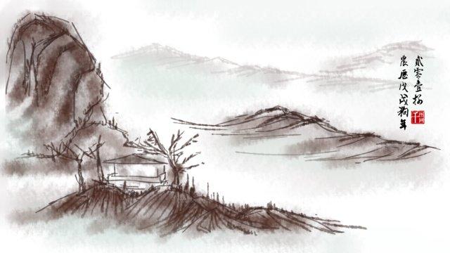唐と歌の水墨画を模倣   半チベット人の中国風の手描きオリジナル イラスト素材 イラスト画像