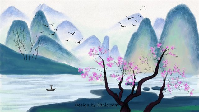 Traditional chinese painting ink landscape, Traditional, Chinese Painting, Landscape illustration image