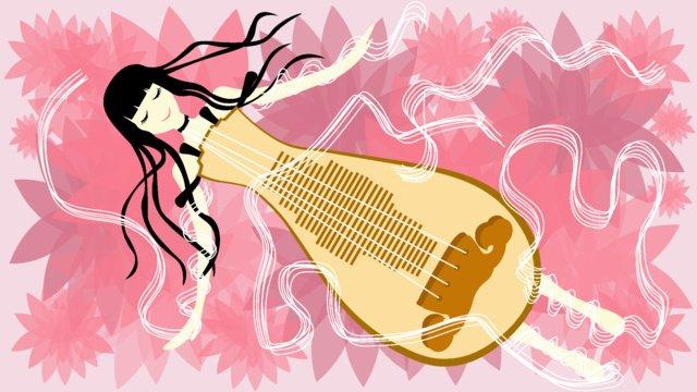 Flower sea guzheng girl illustration llustration image