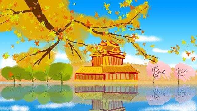 여행 도시 베이징 일러스트레이션 삽화 소재 삽화 이미지
