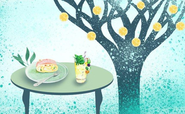 Summer meal small fresh illustration, Trees, Grass, Cake illustration image