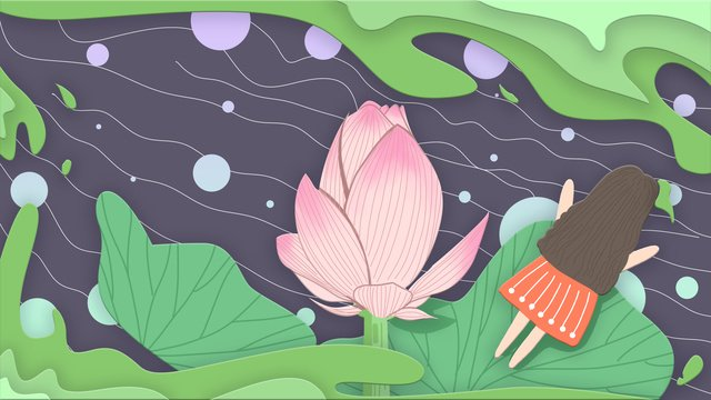 Twenty-four knotty lotus flowers and girl lying on the leaf, Twenty-four Solar Terms, Traditional Solar Terms, Lotus illustration image