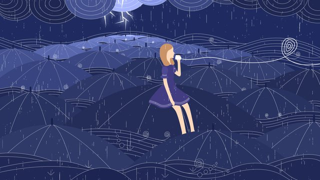 밤 비가 내린 바다 뿌리는 소녀 삽화 소재 삽화 이미지
