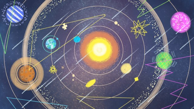 Solar system technology looks to explore the universe hand painted original illustration llustration image