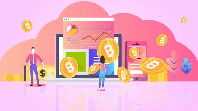グラデーションフラットウィンド金融ビットコイン イラスト素材