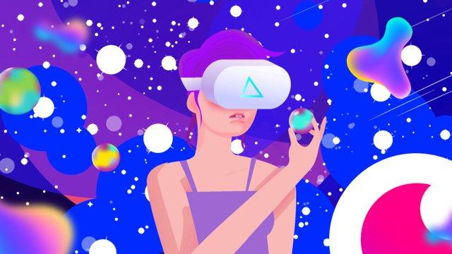 vr high tech outer space element girl planet vision llustration image