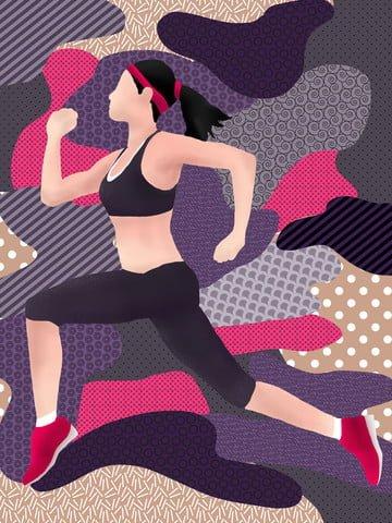 遊走の夢ランニングフィットネスの女の子 イラスト素材