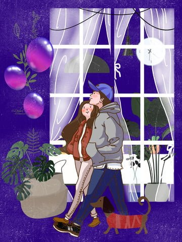 Walking Couple balloon Dog, Window, Winter, Plant illustration image