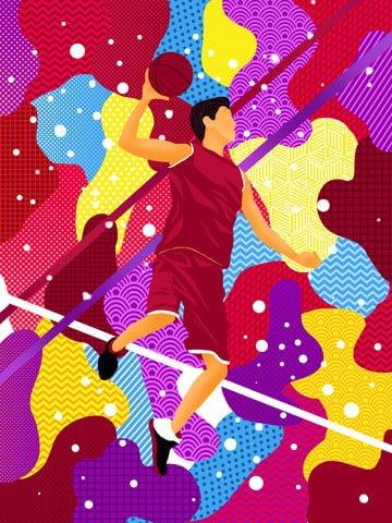 赤いさまよう夢バスケットボールの抽象的なイラスト イラスト素材 イラスト画像