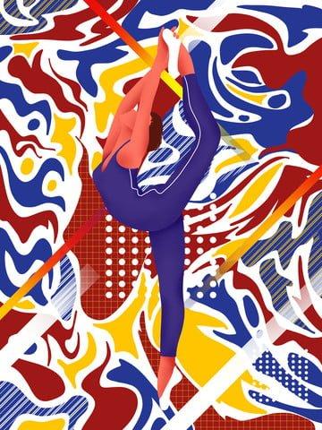 Walking dream dance stretching girl illustration, Wandering Dream, Dancing, Stretch illustration image