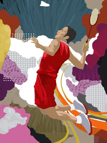 Wandering dream trend fitness sport scene illustration badminton wallpaper illustration image