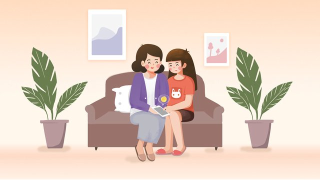 Warm mother and daughter teachers day small fresh original illustration, Warm, Mother And Daughter, Mom illustration image