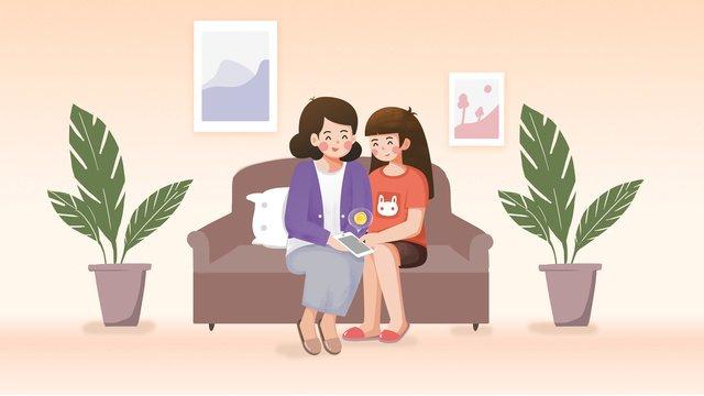 あたたかい母と娘の先生の日小さな新鮮なオリジナルイラスト イラスト素材 イラスト画像