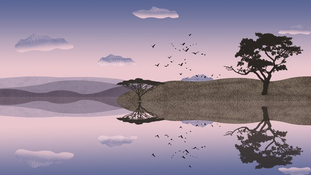 Water and sky Reflection twilight Sunset, Flying Bird, Sky, Lake View illustration image