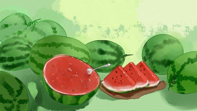 ग्रीष्मकालीन तरबूज फल पानी के रंग का चित्रण चित्रण छवि चित्रण छवि