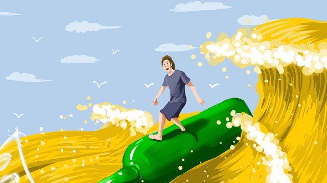 Surfing oktoberfest poster on yellow sea waves, Wave, Beer, Beer Festival illustration image