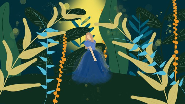 Girl in blue wedding dress, Wedding Dress, Wedding, Marry illustration image