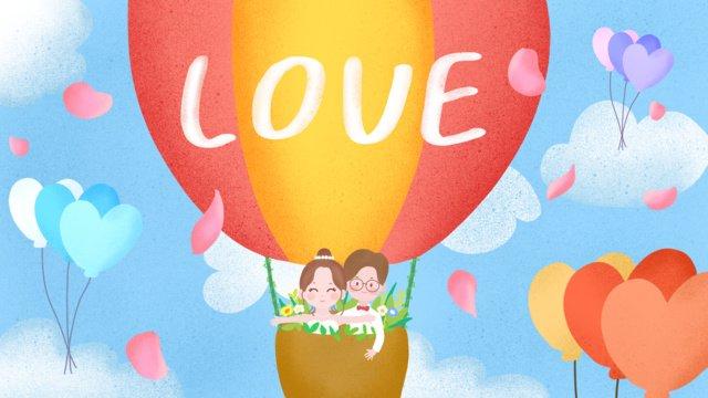 hand drawn romantic hot air balloon petals wedding illustration llustration image illustration image