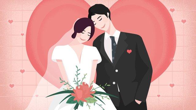 Original wedding invitation sweet couple love llustration image