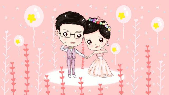 ピンクのロマンチックな夢の結婚式 イラスト素材 イラスト画像