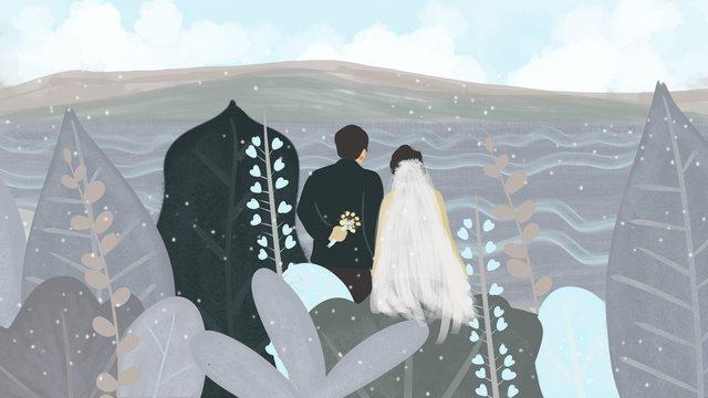 Beautiful romantic wedding by the sea, Wedding, Marry, Romantic illustration image
