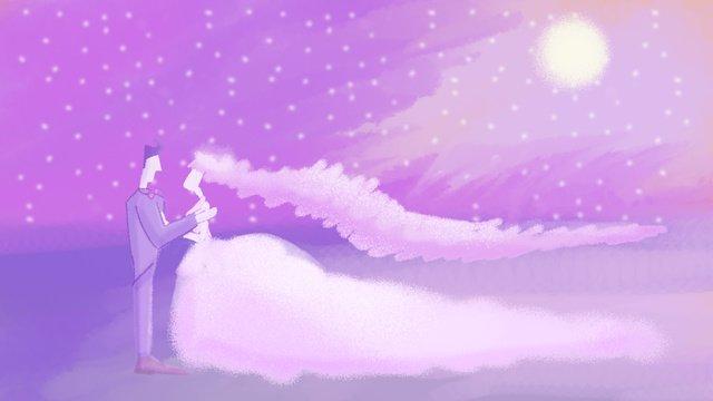 月明かりの下でロマンチックな結婚式 イラストレーション画像