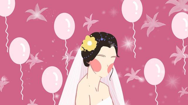 결혼식 웨딩 베일 소녀 핑크 꿈 풍선 그림 이미지
