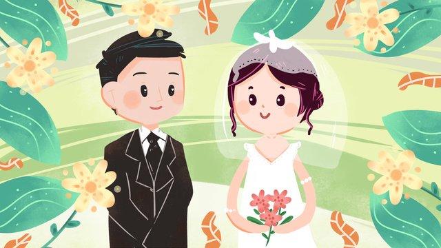 शादी का जोड़ा जश्न चित्रण हाथ से खींचा हुआ पोस्टर वॉलपेपर चित्रण छवि